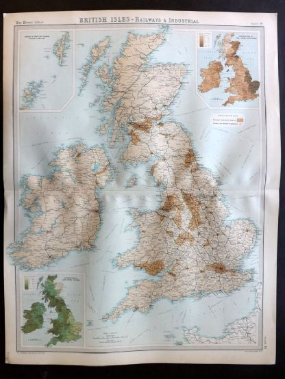 Bartholomew 1922 Large Map. British Isles, Railways & Industrial